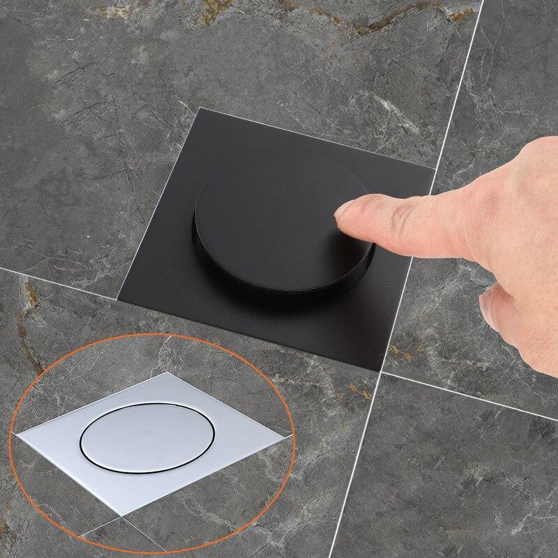 Tuqiu Floor Drains Black/Chrome Brass Shower Floor Drain Bathroom Deodorant Euro Square Floor Drain Strainer Cover Grate Waste